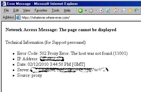 502) Proxy Error ( The Host Was Not Found  )